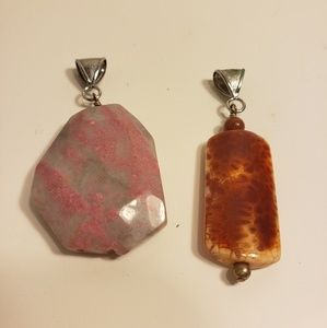 Large natural stone pendants